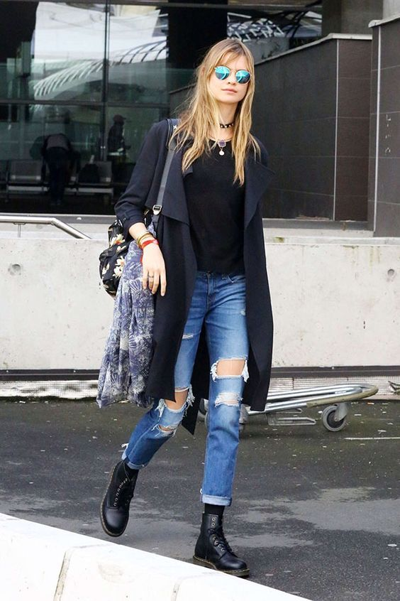 look inverno coturno e calça jeans