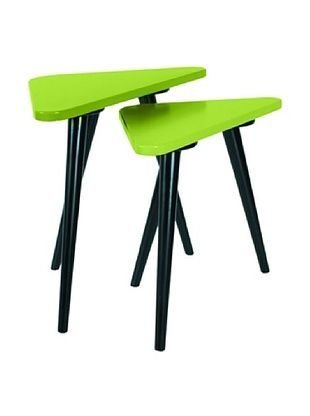 86% OFF Large Teapoy Grey Table with Shiny Black legs, Green