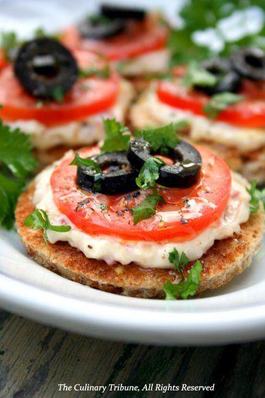 Mini open tomato sandwiches