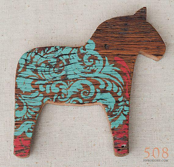 Lilla Vän: MEDIUM DALA HORSE  painted wood animal by fiveoeight
