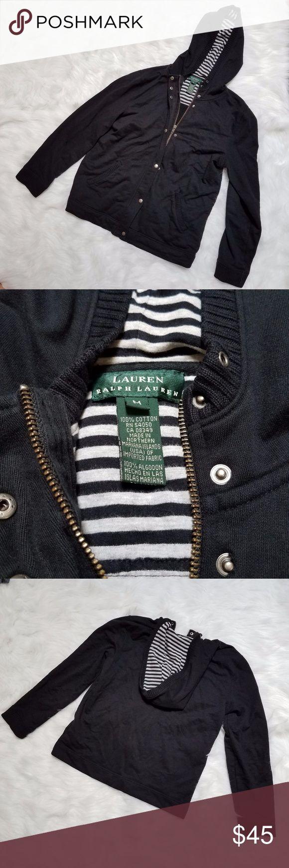 Women's Lauren Ralph Lauren zip up sweater Women's Lauren Ralph Lauren 100% cotton black zip up sweater, metal snap closure over zipper, hood with striped lining, size medium Lauren Ralph Lauren Tops Sweatshirts & Hoodies