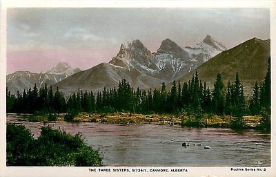 Canmore Alberta Canada 1920s Tinted Real Photo Postcard Three Sisters Mountains