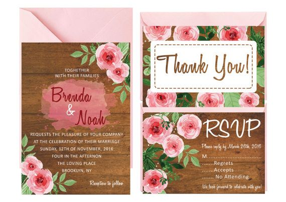 VINTAGE PEONY WEDDING Invitation Floral by LoveArtsStationery