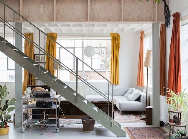 This former London warehouse was converted into a live/work unit for an artist and his family.