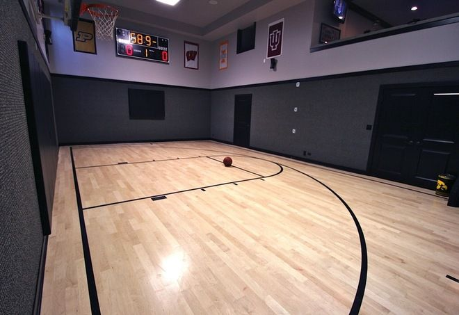 Basketball court inside garage modern by oakley home for Indoor basketball court builders