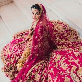 Real Indian Wed WedMeGood | Bride in a Bright Pink Wedding Lehenga with Golden Embroidery   COLOR