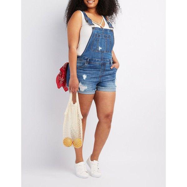Refuge Destroyed Denim Shortalls ($35) ❤ liked on Polyvore featuring jumpsuits, rompers, dark wash deni, short overalls, bib overalls, white rompers, shorts overalls and plus size denim overalls
