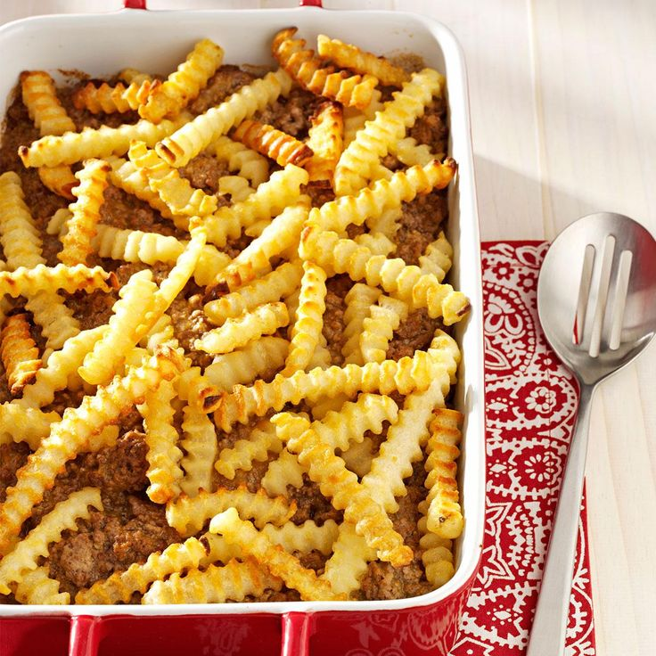 Cheeseburger 'n' Fries Casserole Recipe -Kids love this casserole because it combines two of their favorite fast foods. And I like the fact that I can whip it up with just four ingredients. —Karen Owen, Rising Sun, Indiana