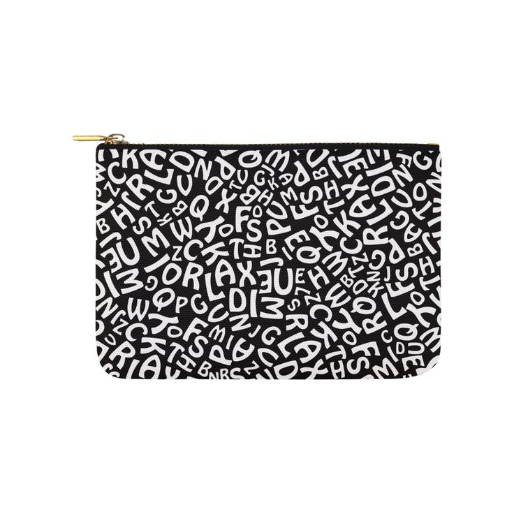 Alphabet Black and White Letters Carry-All Pouch 9.5