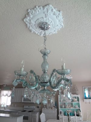 Shabby Chic: My New Blue/Green Crystal Chandelier from Craigslist & medallion from Ebay!! Great deals!