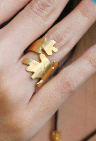 joyería artesanal, anillo hoja