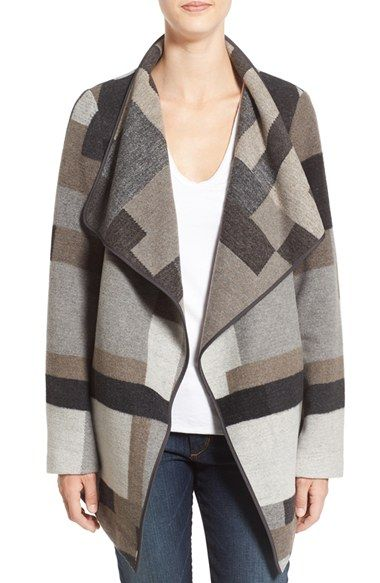 Free shipping and returns on French Connection Geometric Print Blanket Coat at Nordstrom.com. Intersecting rectangles in a mix of stony neutral hues pattern this drape-front woolen blanket coat with polished piping tracing the edges. At once striking and streamlined, this versatile layer will keep you cozy with a stand-up neck-hugging collar and hand-warming pockets.