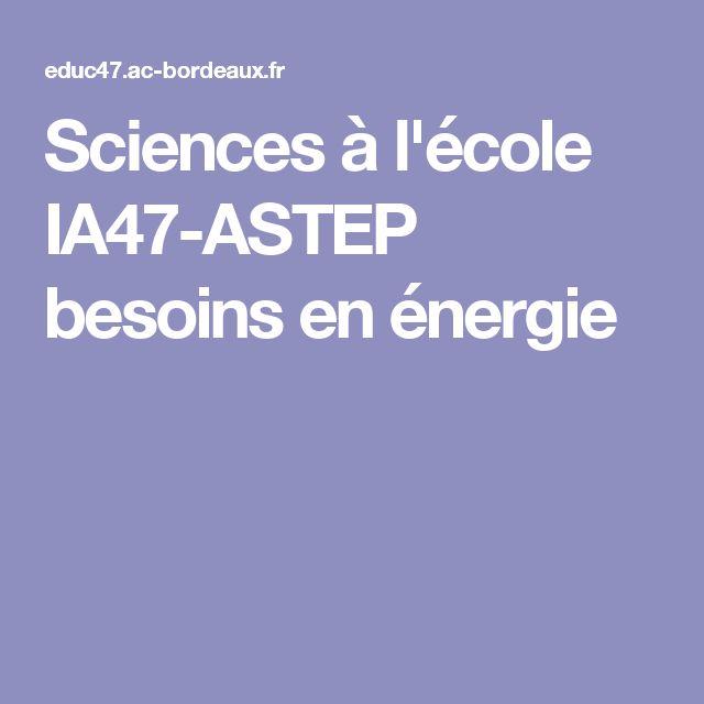 Sciences à l'école IA47-ASTEP besoins en énergie
