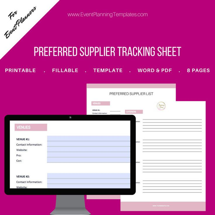 Excited to share the latest addition to my #etsy shop: Vendor List / Preferred Supplier Fillable Tracking Sheet for Event & Wedding Planners. Printable Template. MS Word and PDF Versions included http://etsy.me/2Ejmn0A #everythingelse #graphicdesign #white #pink #event
