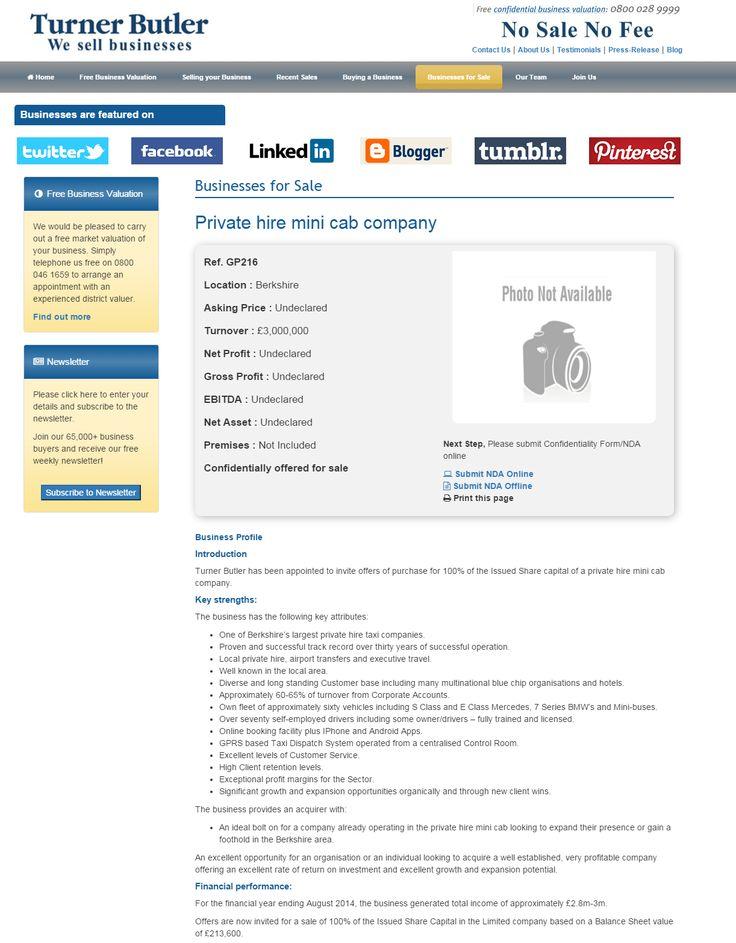 Business for sale Private hire mini cab company Ref GP216 - company business profile