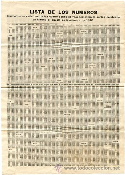 Lista Números Premiados Lotería Nacional. Sorteo 21 Diciembre 1946