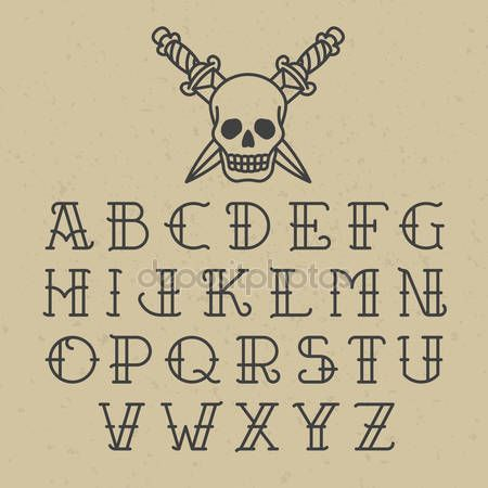 Old school tattoo font by Alhovik