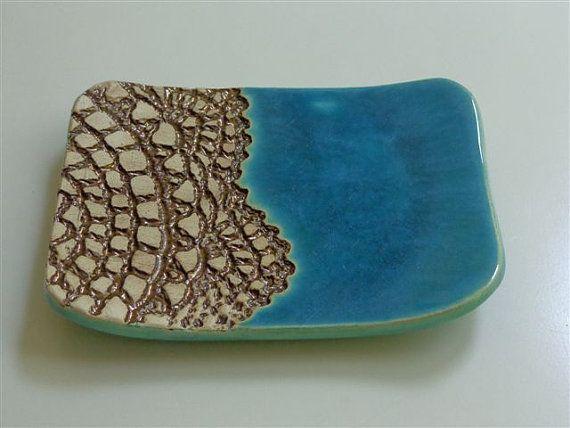 Turquoise ceramic soap dish lace decor by bemika on Etsy, $12.00