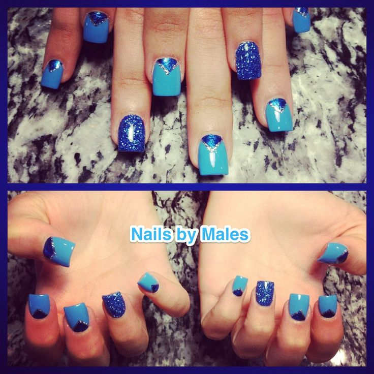 blue valentines day nails