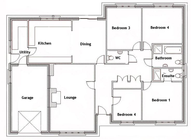 Split bedroom house plans for 1500 sq ft 4 bedroom house for Modern 4 bedroom house floor plans