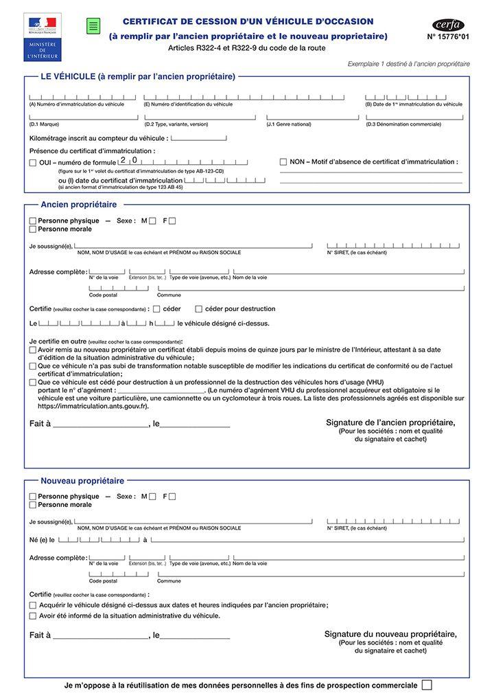 Certificat De Cession De Vehicule Vehicule Code De La Route
