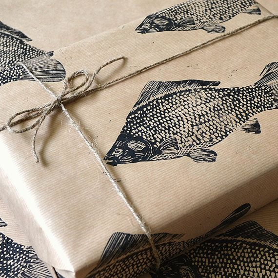 117 best images about lino print fish on pinterest lino for Fish wrapping paper