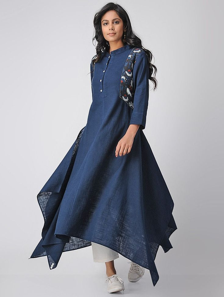 Buy Blue Cotton Kantha Kurta with Asymmetrical Hem Women Tunics Online at Jaypore.com