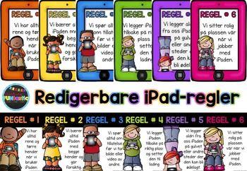 Redigerbare regelplakater for iPad fra Teaching FUNtastic