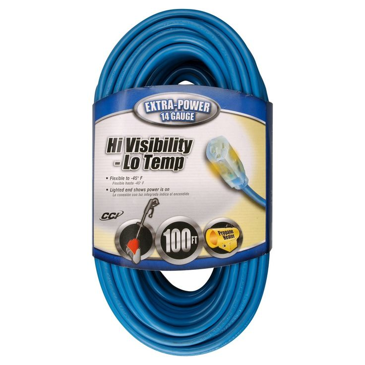 Coleman Cable 14-3 Cold Weather Outdoor 100-ft. Extension Cord with Power Indicator Light