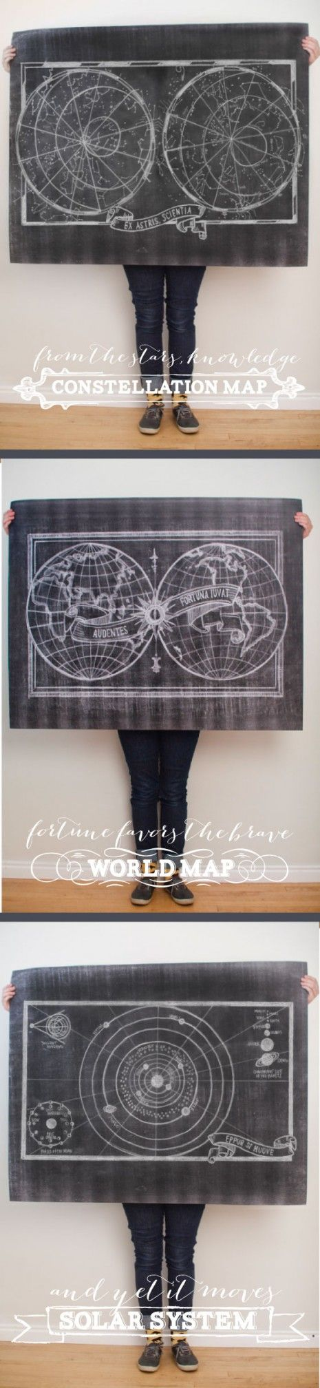 $5 Printable Chalk Maps by Caravanshoppe.com- 3 pack of maps including constellations, the Earth, and the solar system.  just download and print at Staples for only $6 each!