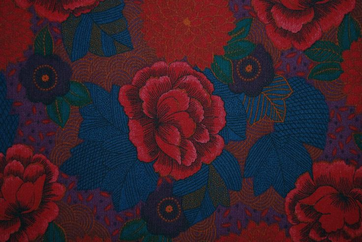 VINTAGE ROSEWOOD upholstery fabric Asian Deco inspired floral home decor fabric by vintageinspiration on Etsy