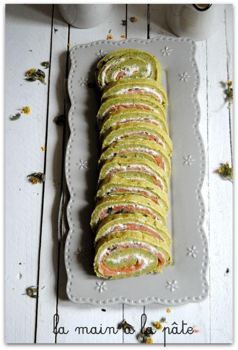 Gâteau roulé salé au brocolis, fromage frais et saumon fumé