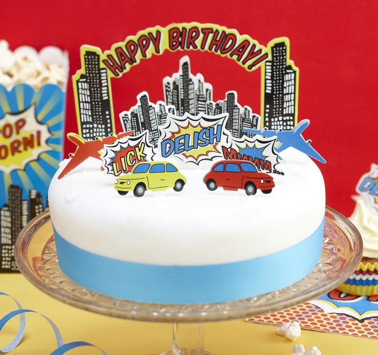 Bright Superhero Birthday Party Cake Toppers