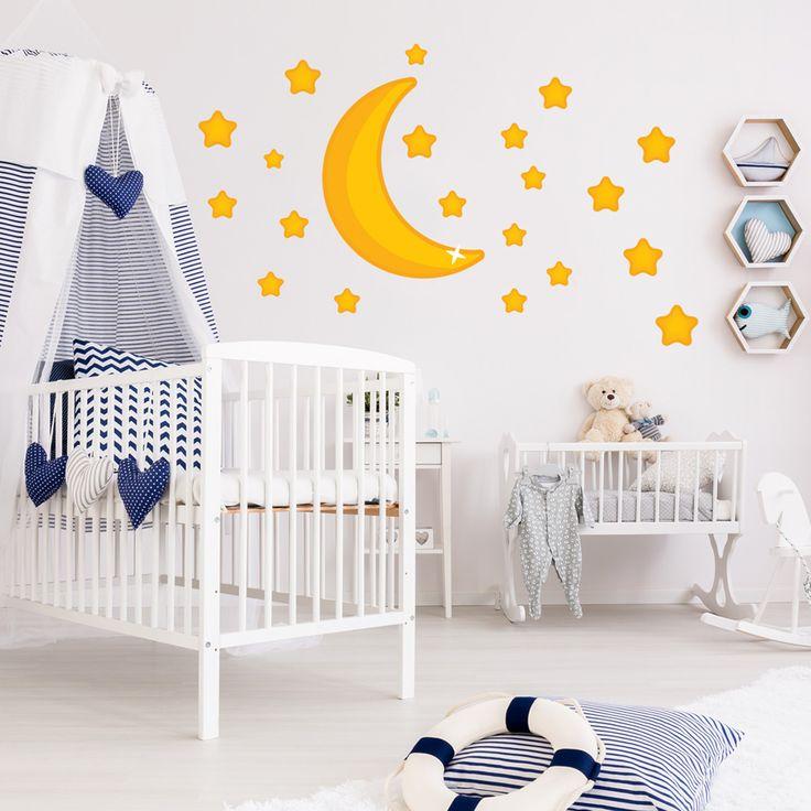 """Vinilo """"Luna y Estrellas"""". ¿Estás decorando el quarto infantil? Una idea genial para colocar sobre cama, cuna bebé, decoración bonita dormitorio, impresión a todo color de la tienda bimago."""