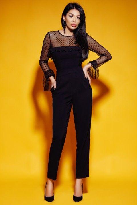 8daa217059eb Tuta elegante di colore nero con pantalone a vita alta.