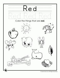 red colors learning colors worksheets for preschoolers