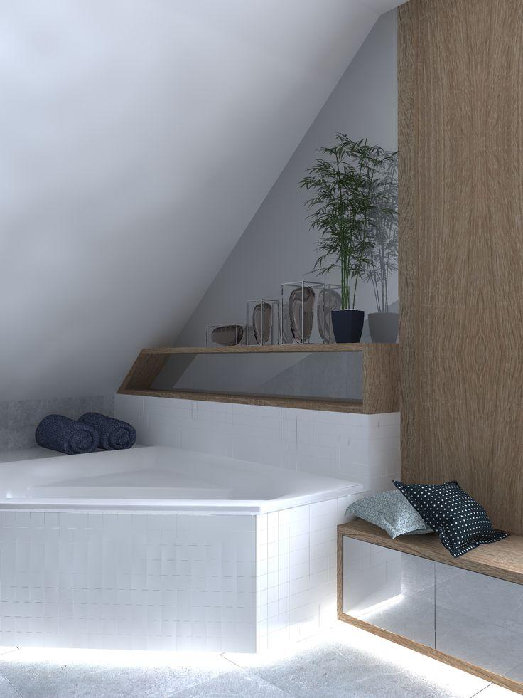 Łazienka na poddaszu. Poddasze użytkowe. Praktyczne siedzisko w łazience. Ano Studio - Architekt Wnętrz - Projektant wnętrz - projekty mieszkań, domów, przestrzeni użyteczności publicznej. Mińsk Mazowiecki , Warszawa i okolice.