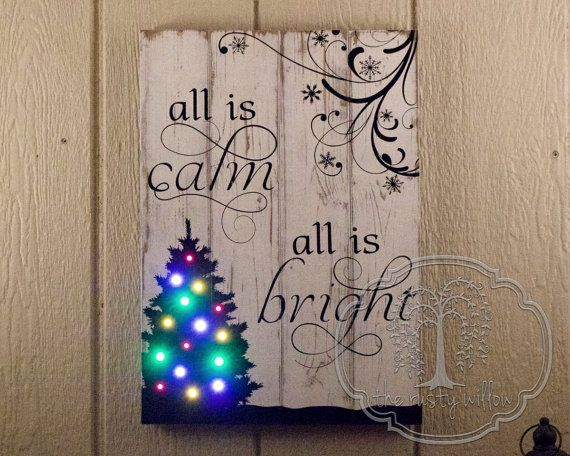 "Light Up Christmas Wood Sign - ""All Is Calm, All Is Bright,"" with Battery Operated LED Multicolor String Lights"