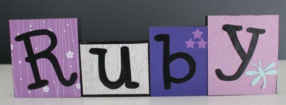 Nursery Name Blocks by LittleLadybugLetters on Etsy, $5.00