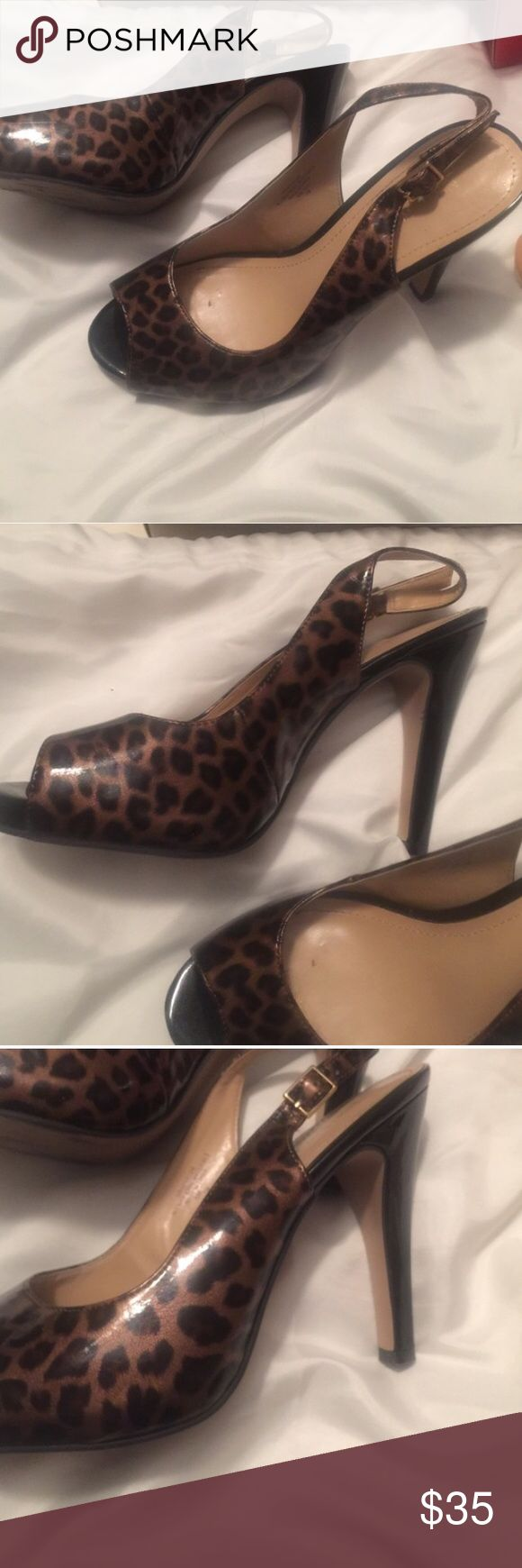 Nine West Cheetah Print Heels Only worn a couple times in good condition size 7 cheetah print brown/black color Nine West Shoes