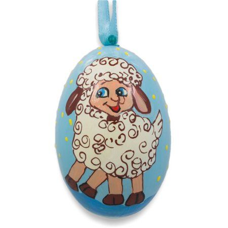 "3"" Smiling Lamb Wooden Christmas Animal Ornament"