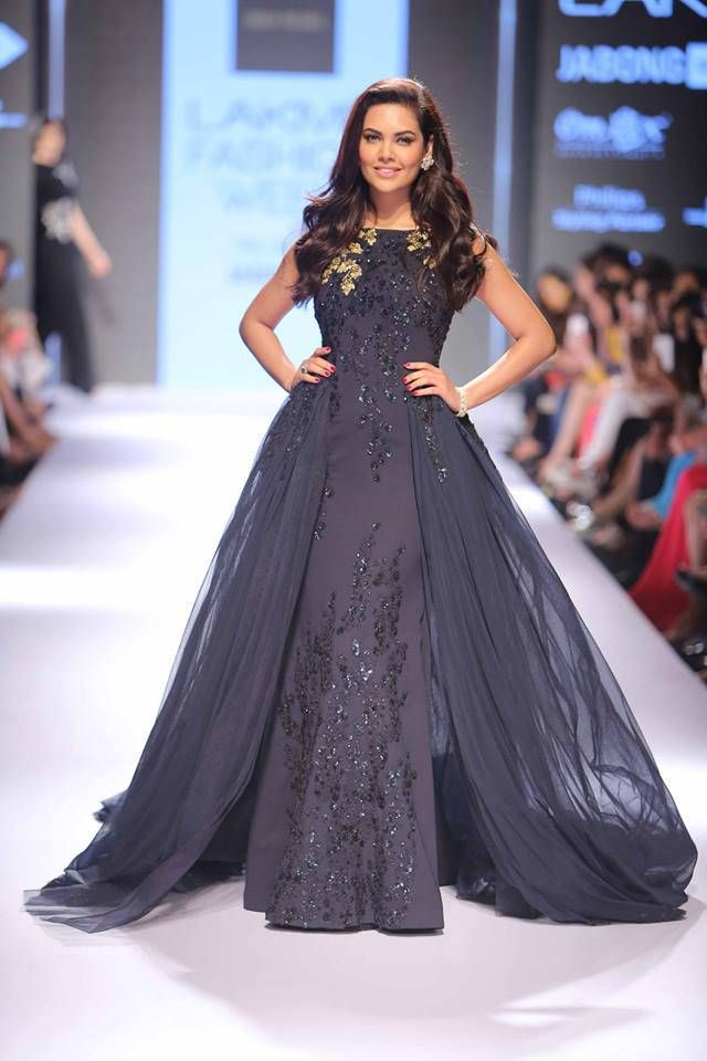 Crushing on this gown worn by Esha Gupta at Lakme Fashion Week. See more of celebrity showstoppers at the event only on www.frugal2fab.com