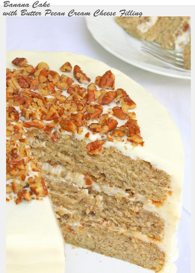 Banana Cake with Butter Pecan Cream Cheese Filling- Recipe by MyCakeSchool.com Simple Cake for holiday  #cake  #dessert