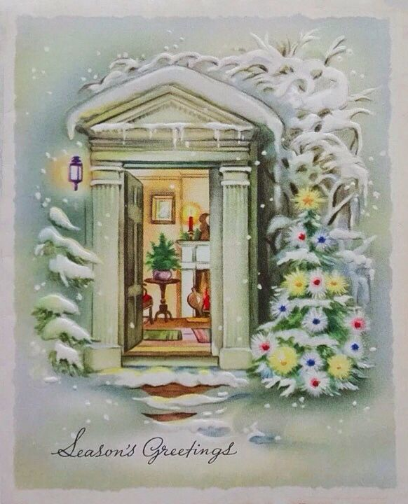 1940's-60's Cozy Warm Front Door Vintage Christmas Wishes Greeting Card USA
