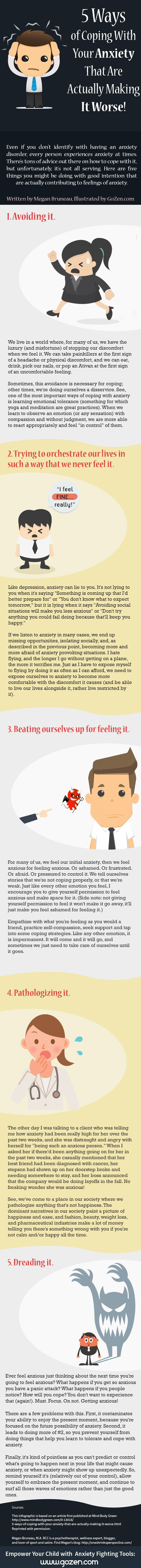5 ways of coping with anxiety that can actually make it worse… check out the full list below along with some helpful alternatives for coping with anxiety.    //    This infographic was created in partnership between Megan Bruneau, M.A. RC and...