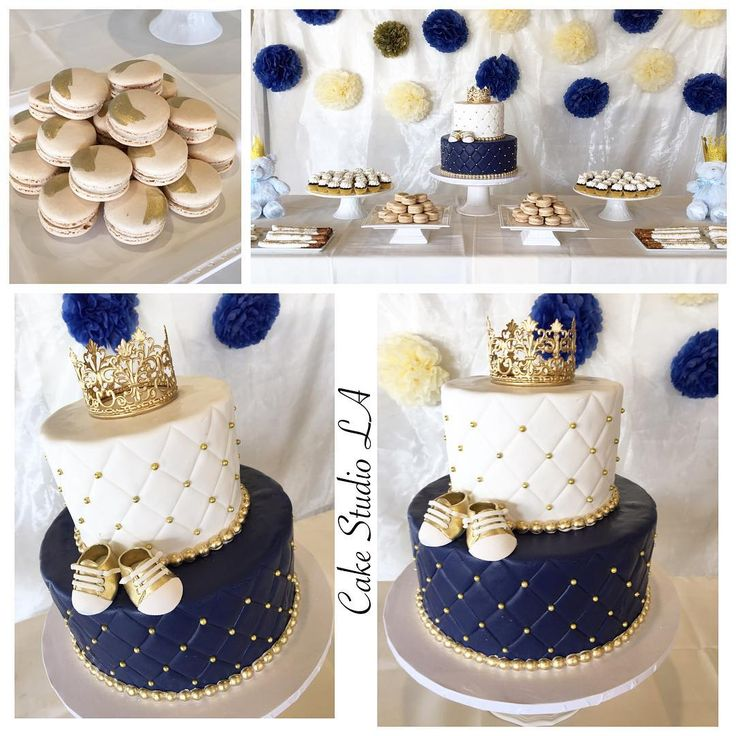 """352 Likes, 7 Comments - Cake Studio LA (@cakestudiola) on Instagram: """"Fit for a Prince. #babyshowercake for a sweet #Mommytobe. #babyboy #prince #cake #babyshower #crown…"""""""