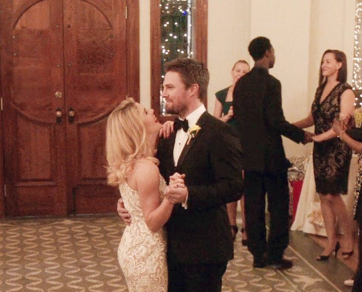 Oliver and Felicity on their wedding day.   Oliver and ...