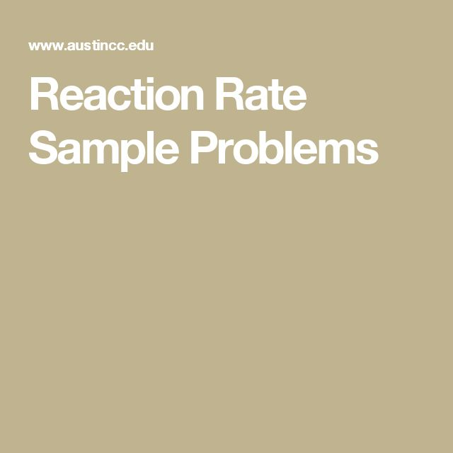 Reaction Rate Sample Problems