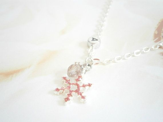 Pink Snowflake Necklace  Birthstone Jewelry  by GlamorousSparkle, €12.00