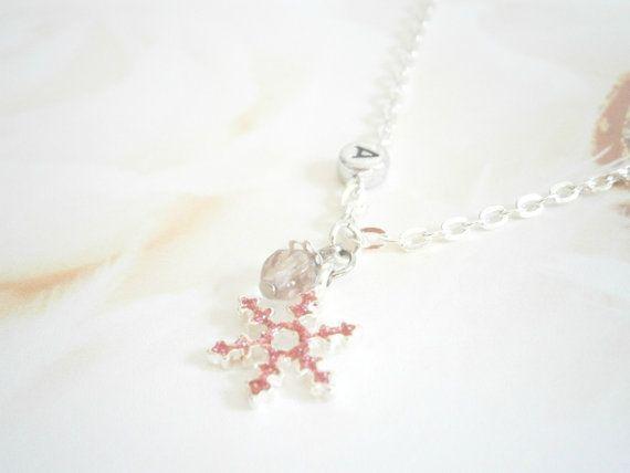 Pink Snowflake Necklace  Birthstone Jewelry  by GlamorousSparkle, €12.00